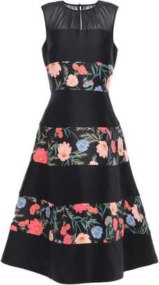 Kate Spade Chiffon-paneled Flared Floral-print Cady Midi Dress