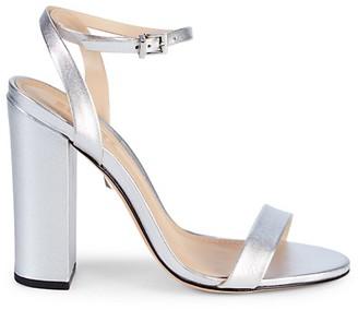 Schutz Ayda Metallic Stack Heel Sandals
