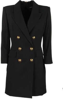 Balmain Short Black Dress With Gold-tone Buttons