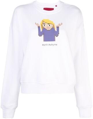 Mostly Heard Rarely Seen 8-Bit Shrug crew neck sweatshirt
