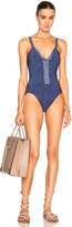 Karla Colletto Denim V Neck Swimsuit