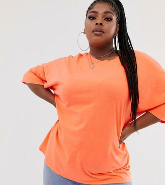 Asos DESIGN Curve super oversized t-shirt with seam detail in orange