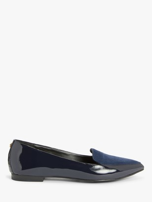 John Lewis & Partners Gin Patent Leather Heel Loafers, Navy