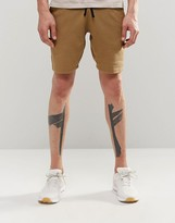 Asos Jersey Shorts In Super Skinny Fit In Tan