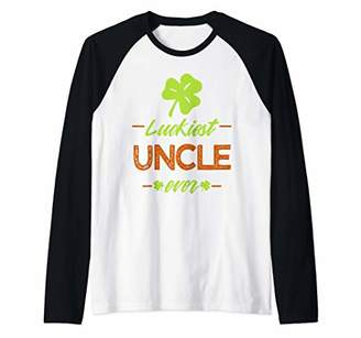 Luckiest Uncle Irish Gift Shamrock St Patricks Day Raglan Baseball Tee