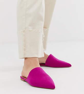 Asos Design DESIGN Wide Fit Lorne pointed mules in magenta-Pink