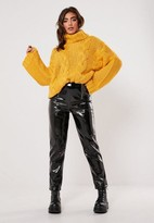 Missguided Mustard Turtle Neck Extreme Cable Knit Sweater