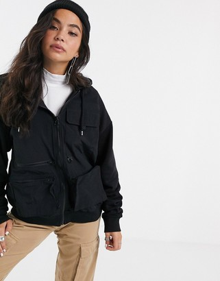 Asos Design DESIGN hoodie with zip and utility pockets