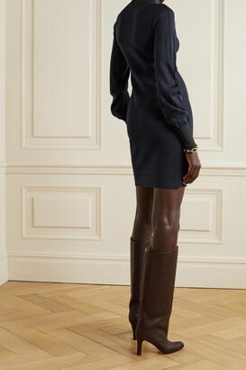 Victoria Beckham Two-tone Wool-blend Turtleneck Mini Dress - Blue