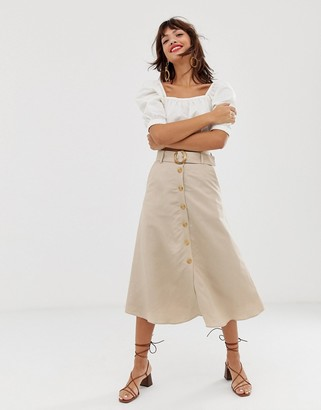 And other stories & linen button front midi skirt in light beige