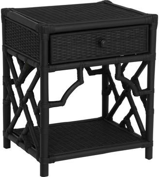 Santorini Imports Jessie Rattan Bedside Table Black