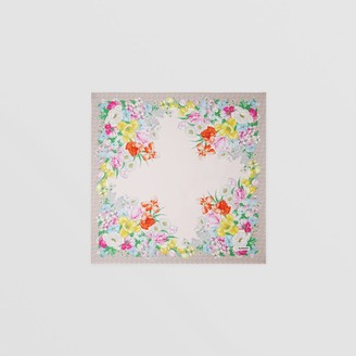 Burberry Floral and Monogram Print Silk Square Scarf
