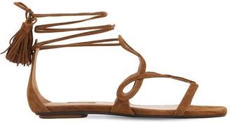 Aquazzura 10mm Gitana Suede Flat Sandals