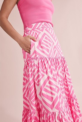 Country Road Print Tiered Maxi Skirt