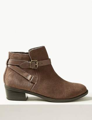 Marks and Spencer Wide Fit Suede Side Buckle Block Heel Ankle Boots