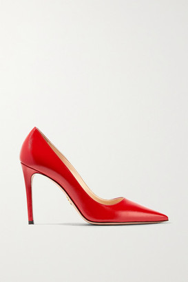 Prada 100 Glossed Textured-leather Pumps - IT35