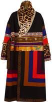 Etro Oversized Patchwork Jacquard, Wool-blend And Goat Hair Coat - Black