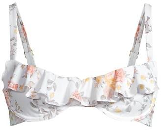 WeWoreWhat Floral Ruffle Bikini Top