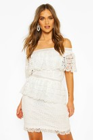 boohoo Occasion Heavy Lace One Shoulder Mini
