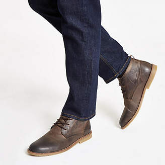 River Island Brown leather chukka boots