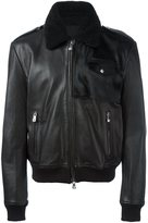 Versus shearling collar leather jacket
