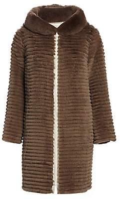 The Fur Salon Women's Reversible Rabbit Fur Hooded Jacket