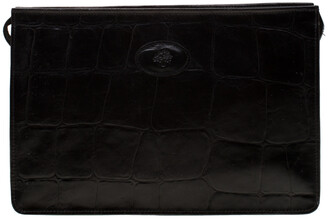Mulberry Black Crocodile Embossed Clutch