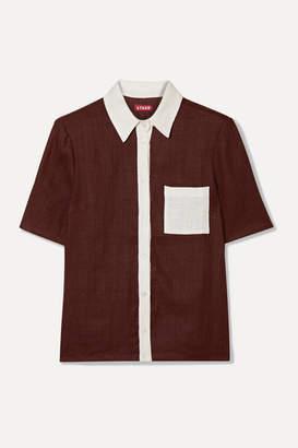 STAUD Cav Two-tone Linen Shirt - Burgundy