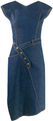 Christian Dior 2000s Pre-Owned Asymmetric Denim Dress
