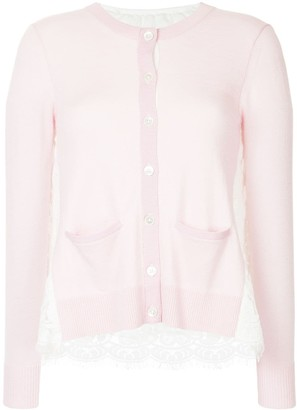 Onefifteen Lace Panel Buttoned Cardigan
