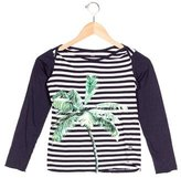 Stella McCartney Girls' Palm Print Striped Top