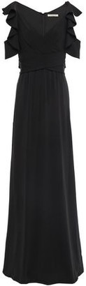 Halston Cold-shoulder Wrap-effect Ruffle-trimmed Crepe-jersey Gown