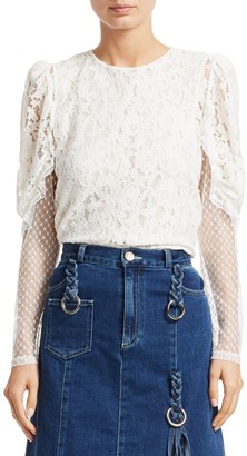See by Chloe Lace Sheer-Sleeve Blouse