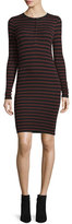 ATM Anthony Thomas Melillo Long-Sleeve Striped Henley Jersey Dress, Rust/Black