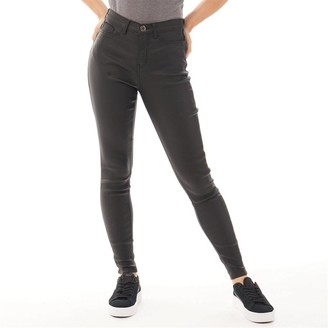 Fluid Womens Coated Jeans Black