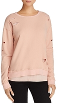 Generation Love Viola Layered-Look Distressed Sweatshirt