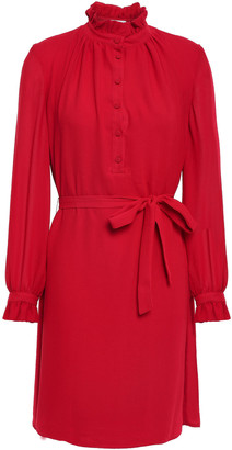 Claudie Pierlot Rapide Belted Ruffled Woven Mini Dress