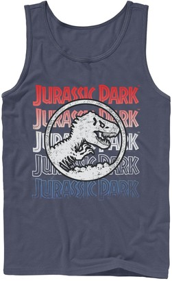 Jurassic World Men's Jurassic Park Red White And Blue Title Graphic Tank Top