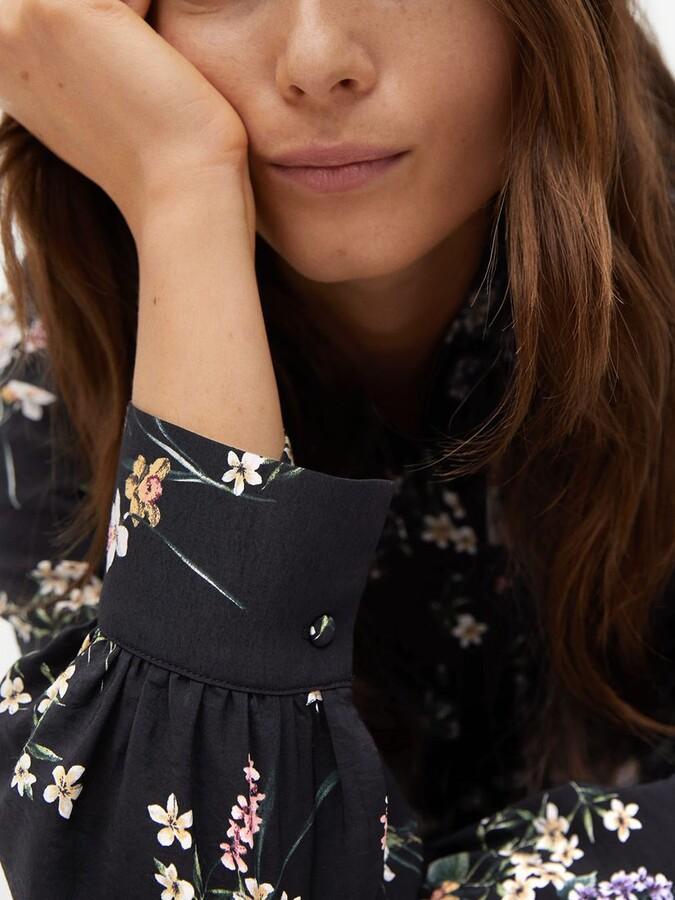Thumbnail for your product : MANGO Floral Belt Dress, Black