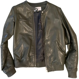 Les Petites Green Leather Leather Jacket for Women