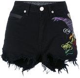 Marcelo Burlon County of Milan distressed embroidered shorts - women - Cotton/Spandex/Elastane - 28