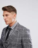 Moss Bros Skinny Suit Jacket In Fleck Check