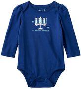 "Baby Girl Jumping Beans® ""My Very First Hanukkah"" Glittery Menorah Graphic Bodysuit"