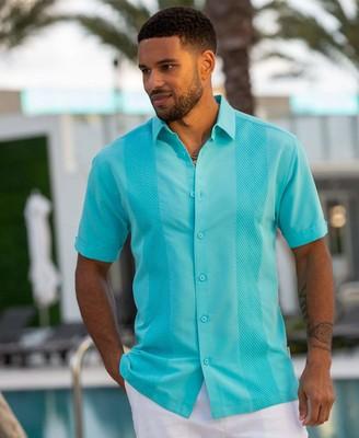 Cubavera Tonal Geo Embroidered Shirt
