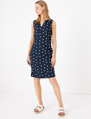 Marks and Spencer Linen Polka Dot Notch Neck Shift Dress