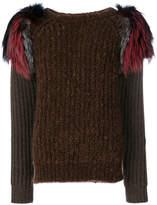 Agnona embellished shoulder sweater