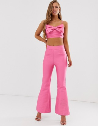 Collective The Label flared trouser coord in pop pink