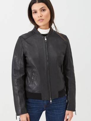 BOSS Casual Leather Jacket - Black