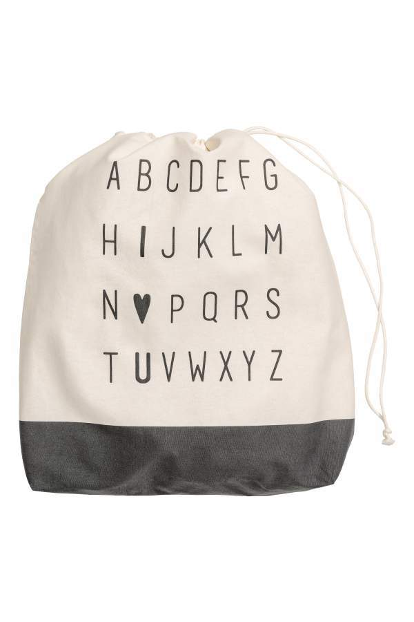 H&M Large Storage Bag - Natural white/charcoal gray