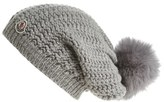 Moncler Women's Waffle Knit Beanie With Genuine Fox Fur Pom - Grey